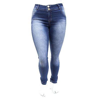 Calça Jeans Feminina Plus Size Azul Escura Manchada Deerf