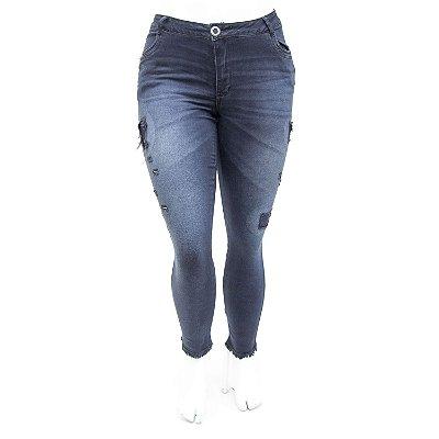 Calça Jeans Feminina Plus Size Rasgadinha Escura Cropped Darlook