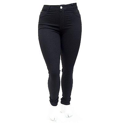 Calça Jeans Feminina Plus Size Hot Pants Preta Cheris