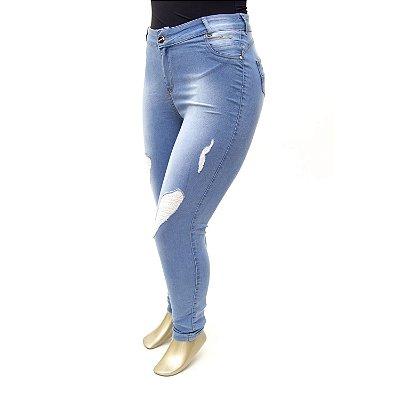 Calça Plus Size Jeans Rasgadinha Clara Credencial Cintura Alta