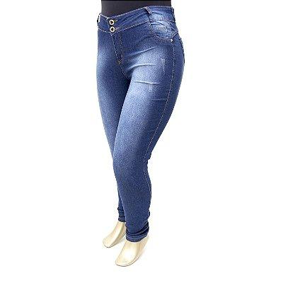 Calça Plus Size Jeans Feminina Escura Credencial Cintura Alta