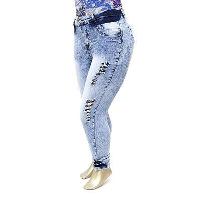 Calça Plus Size Jeans Feminina Rasgadinha Manchada Cheris