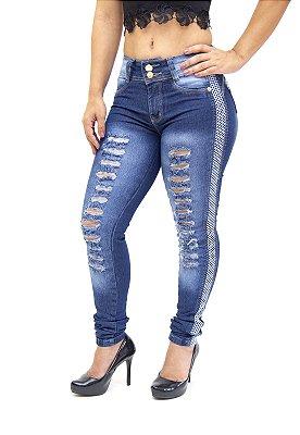 Calça Jeans Cheris Skinny Rasgada Gediane Azul