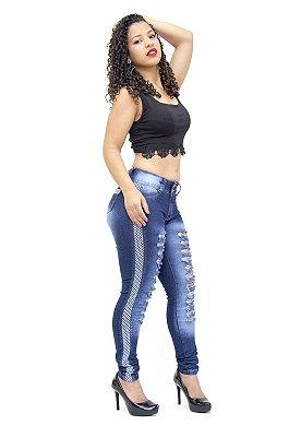 Calça Jeans Feminina Rasgadinha Azul Escura Cheris