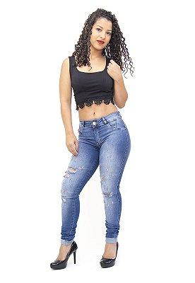 Calça Jeans Feminina Hot Pants Rasgadinha Deerf