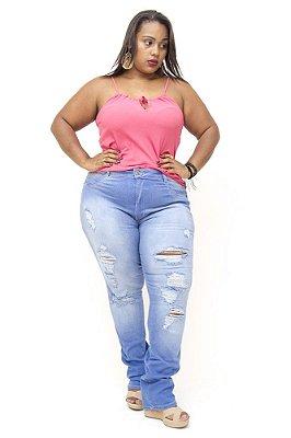 Calça Plus Size Skinny Rasgadinha Feminina Hot Pants Bokker