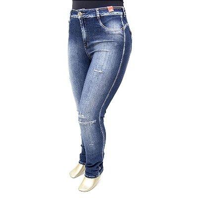 Calça Plus Size Jeans Hot Pants Rasgadinha Escura Bokker