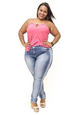 Calça Plus Size Jeans Cigarrete Básica Bokker