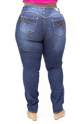 Calça Jeans Bokker Plus Size Reta Rasgada Marine Azul