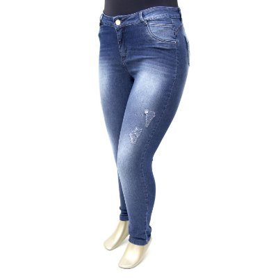 Calça Plus Size Jeans Hot Pants Escura Tenesse