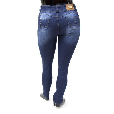Calça Jeans Plus Size Feminina Azul Credencial Cintura Alta