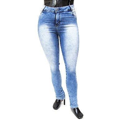 Calça Jeans Plus Size Feminina Manchada Credencial Cintura Alta