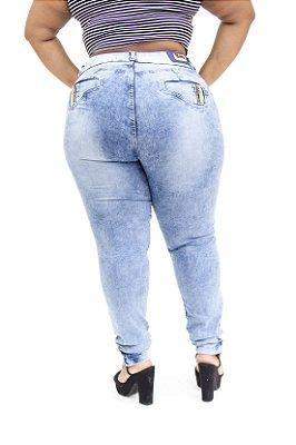 Calça Jeans Plus Size Feminina Manchada Cheris Cintura Alta