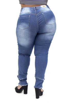 Calça Jeans Plus Feminina Size Azul Cheris Hot Pants
