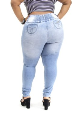 Calça Jeans Helix Plus Size Skinny com Elástico Evalina Azul