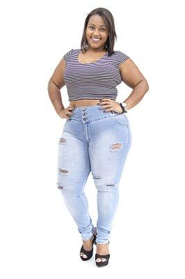 Calça Jeans Plus Size Feminina Rasgada com Elástico Helix
