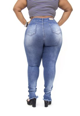 Calça Jeans Plus Size Feminina Escura Darlook Hot Pants