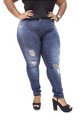 Calça Jeans Darlook Plus Size Skinny Rasgada Creusa Azul
