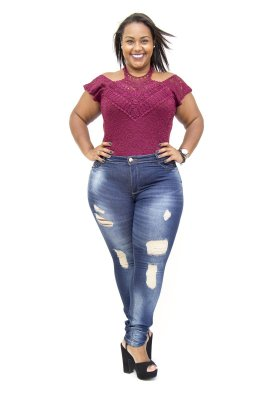 Calça Jeans Plus Size Feminina Rasgadinha Darlook Cintura Alta