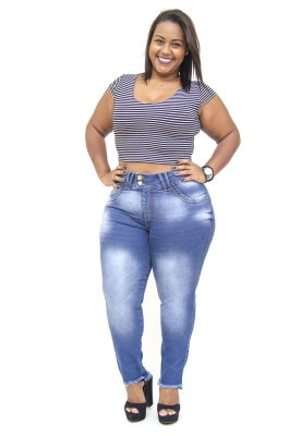 Calça Jeans Plus Size Feminina Azul Manchada Xtra Charmy