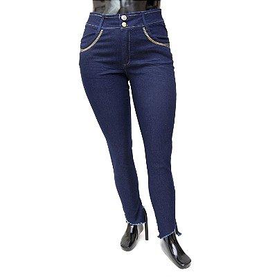Calça Jeans Plus Size Feminina Escura Xtra Charmy Cintura Alta