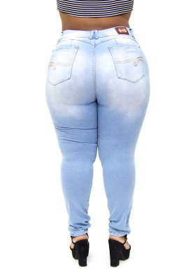 Calça Jeans Plus Size Feminina Rasgadinha Xtra Charmy Cintura Alta