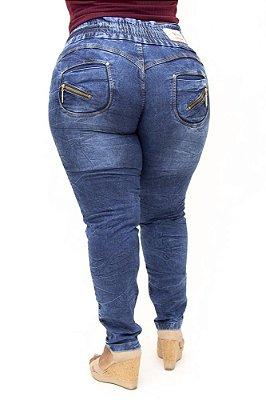 Calça Jeans Cheris Plus Size Skinny com Elástico Munick Azul