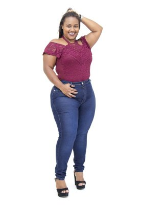 Calça Jeans Plus Size Feminina Escura Cheris Poliana