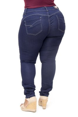 Calça Jeans Deerf Plus Size Skinny Carolini Azul