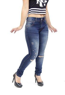 Calça Jeans Deerf Skinny Rasgada Cleonice Azul