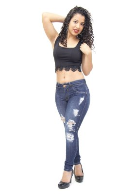 Calça Jeans Feminina Rasgadinha Deerf Eliana