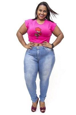 Calça Jeans Plus Size Feminina Cintura Alta Sawary Daisy