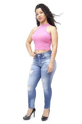 Calça Jeans Feminina Cigarrete Rasgadinha Consciência Marielen