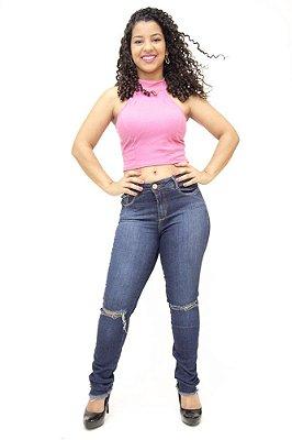 Calça Jeans Feminina Escura Rasgadinha Consciência Thelma