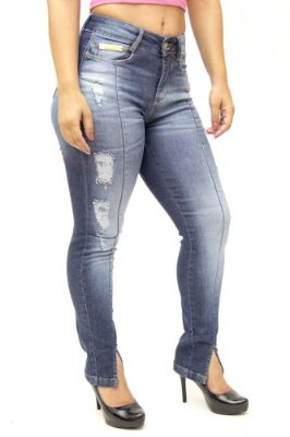 Calça Jeans Consciência Skinny Rasgada Glaucie Azul