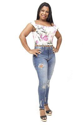 Calça Jeans Feminina Rasgadinha Escura Biotipo Mileni