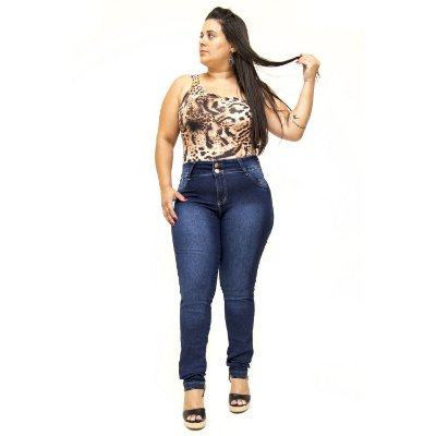 Calça Jeans Plus Size Escura Cintura Alta Thomix Elenilda