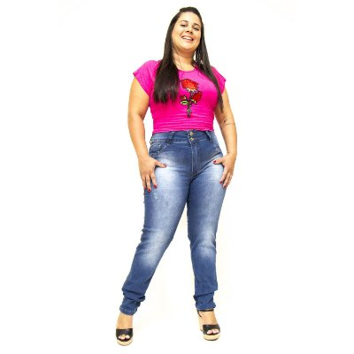 Calça Jeans Plus Size Azul Cintura Alta Cheris Tabata