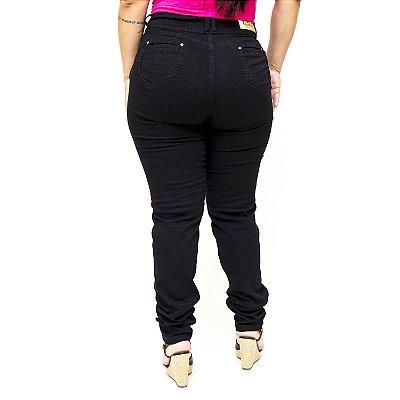 Calça Jeans Plus Size Preta Cintura Alta Cheris Kassila