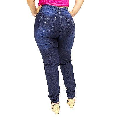 Calça Jeans Plus Size Cintura Alta Azul Cheris Marylene