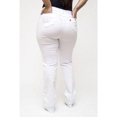 Calça Jeans Plus Size Branca Reta Cambos Quezia