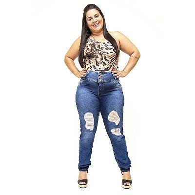 Calça Jeans Plus Size Rasgadinha Credencial Kawana