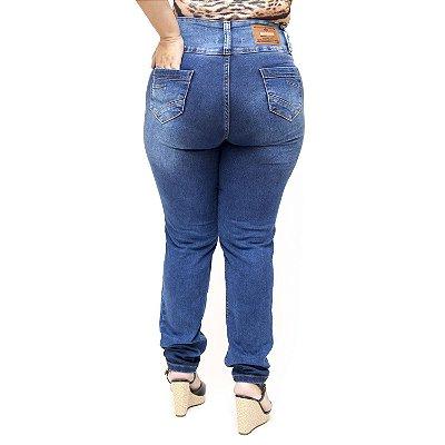 Calça Jeans Credencial Plus Size Skinny Rasgada Kawana Azul