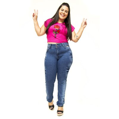Calça Jeans Plus Size Cintura Alta Meitrix Yanara
