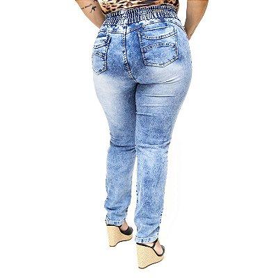 Calça Jeans Plus Size Manchada com Elástico Meitrix Thaise