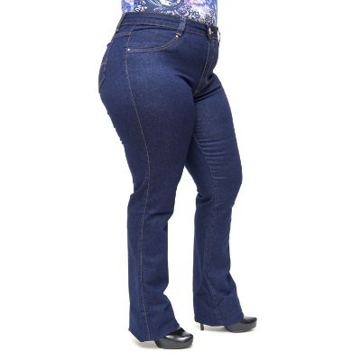 Calça Jeans Cambos Plus Size Flare Ketlyn Azul