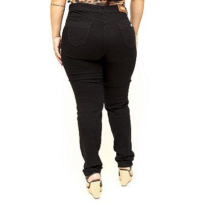 Calça Jeans Plus Size Preta Cintura Alta Thomix Adrieli