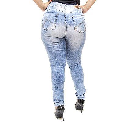 Calça Jeans Plus Size Rasgadinha Cós Alto Credencial Kettly