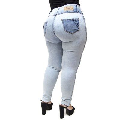 Calça Jeans Credencial Plus Size Skinny Rasgada Daiani Azul
