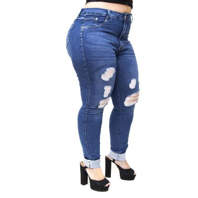 Calça Jeans Cambos Plus Size Skinny Rasgada Sue Azul